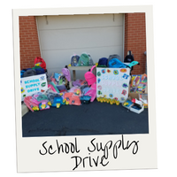 A photo of an assortment of multicolored backpacks and school supplies raised through our Backpack Campaign.