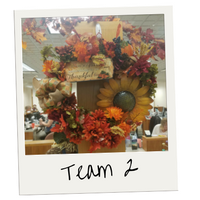 Photo of Winning Wreath: Team #2. Fall Harvest themed.