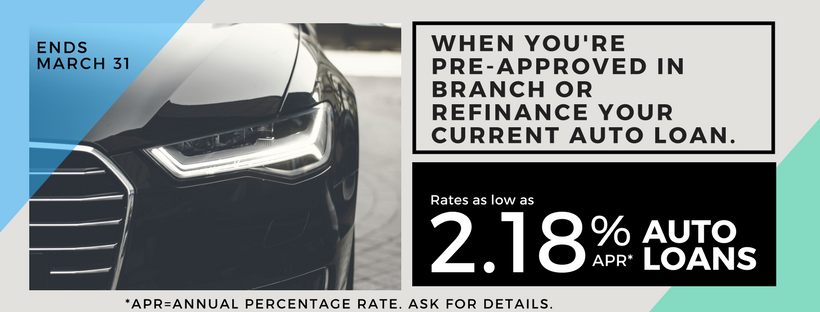 Get pre-approved for 2.18%APR* on your next auto loan promo