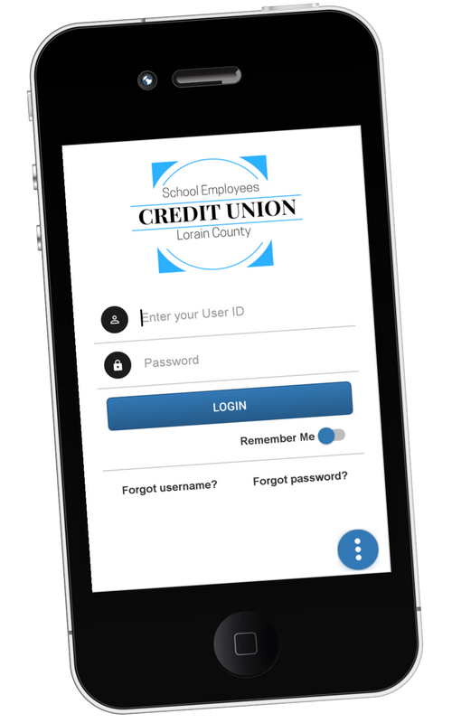 Screenshot of login page of SELCCU's mobile app.
